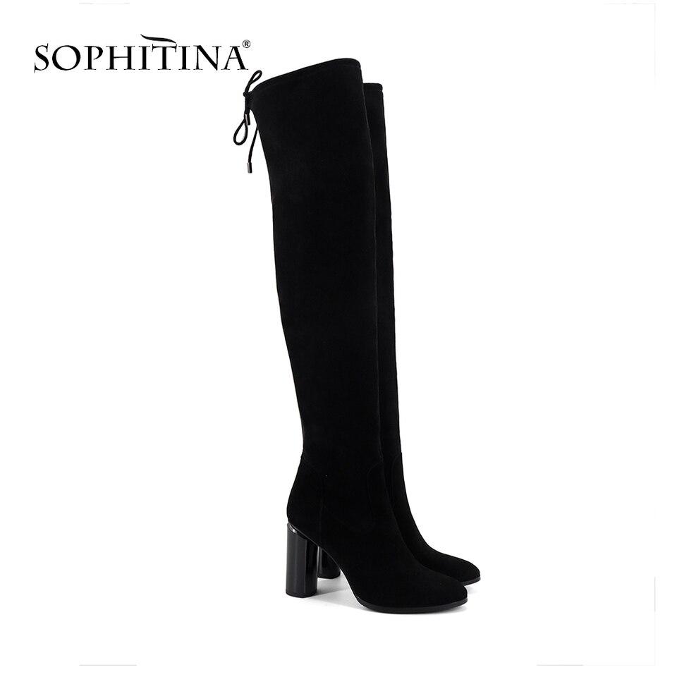 SOPHITINA mujeres sobre la rodilla botas casuales fuera de punta redonda zapatos de tacón alto básica con cordones con cremallera de tacón redondo