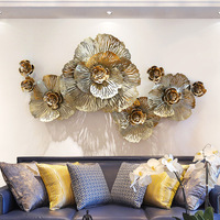 European peony flower wall decor 3D stereo wrought iron wall stickers home Hotel wall hanging Mural ornament mx6031426