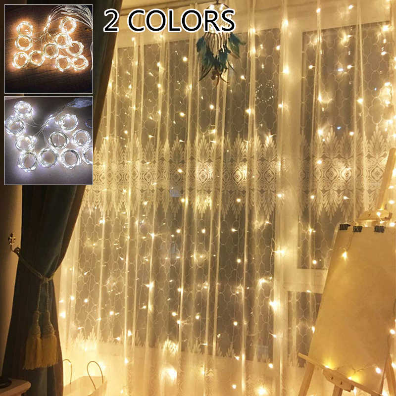 Christmas Wedding Light String Curtain Lamp Flexible LED Remote Control Waterproof LED Light String Home Decoration Accessories