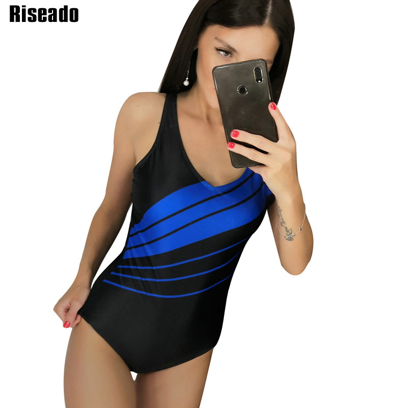 Riseado Sport Competition Swimwear Striped One Piece Swimsuit Mujer U-back Bathing Suits Plus Size Swimming Suits for Women(China)