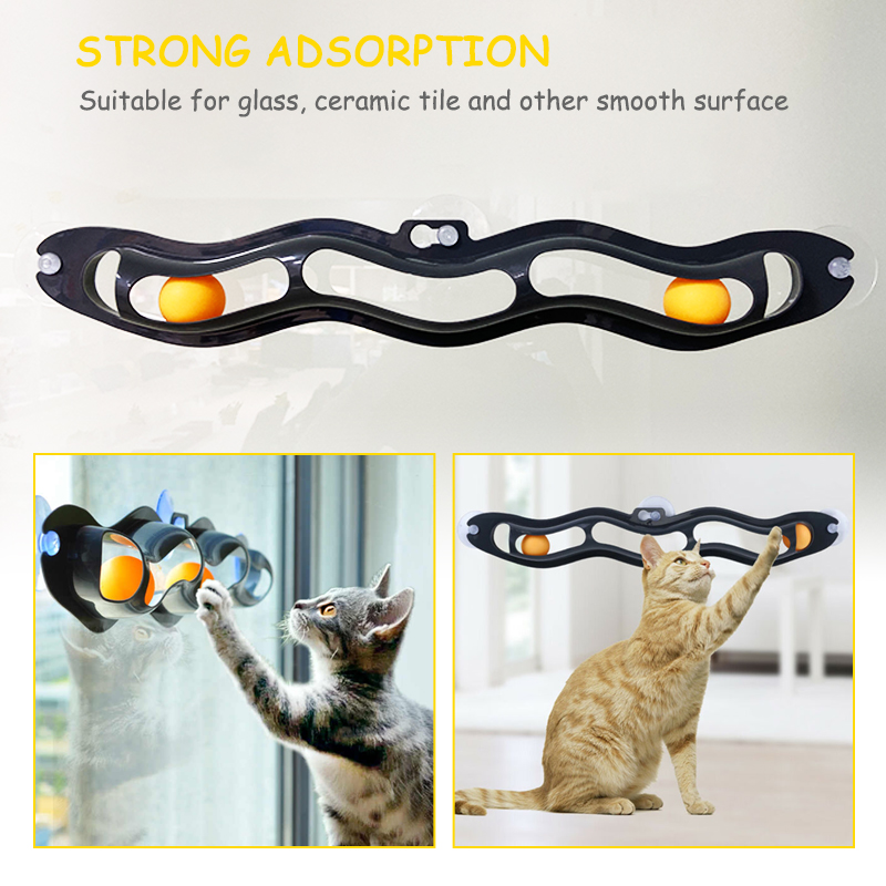 Cat Toys Interactive Track Ball Window Suction Cup Toy Catnip Balls Massage Plastic Sucker Funny Cat Game Intelligence Toy img3