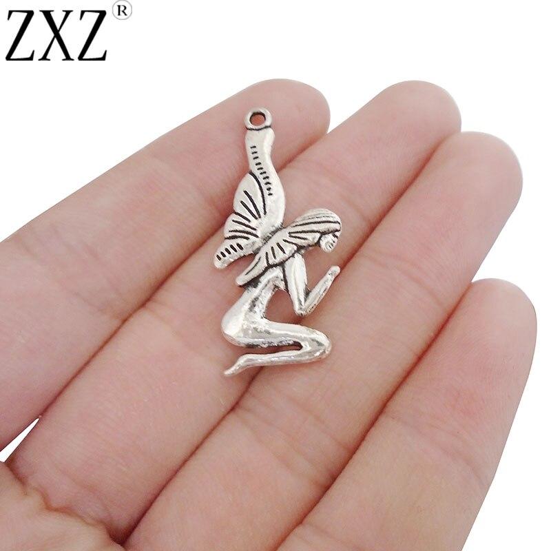 ZXZ 20 pièces déesse Nouveau papillon fée breloques pendentifs Double face pour collier fabrication de bijoux trouver 34x15mm