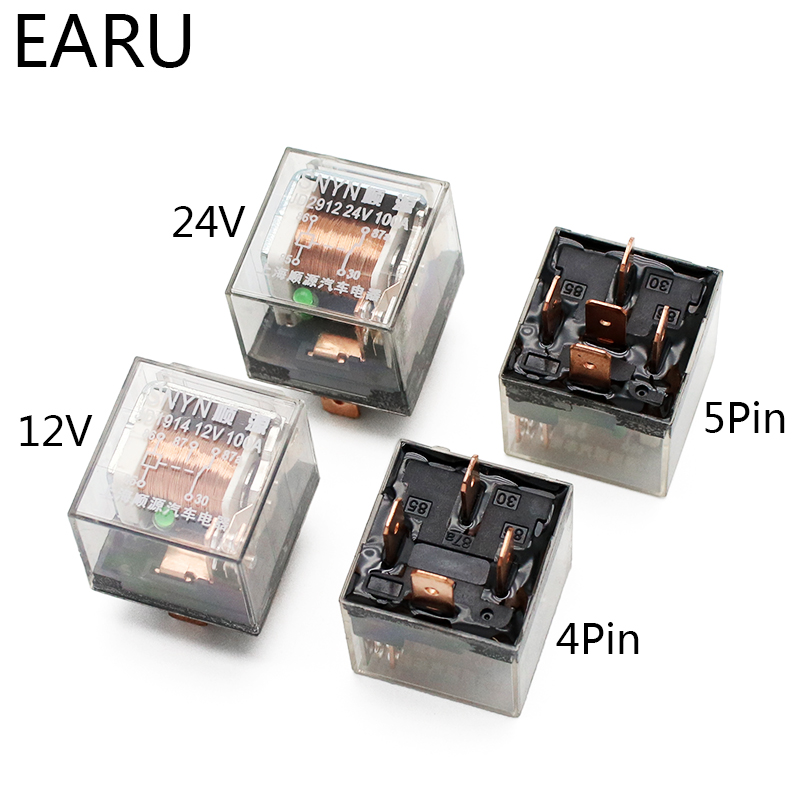 1pcs Waterproof Automotive Relay 12V 100A 5Pin SPDT Car Control Device Car Relays DC 24V High Capacity Switching