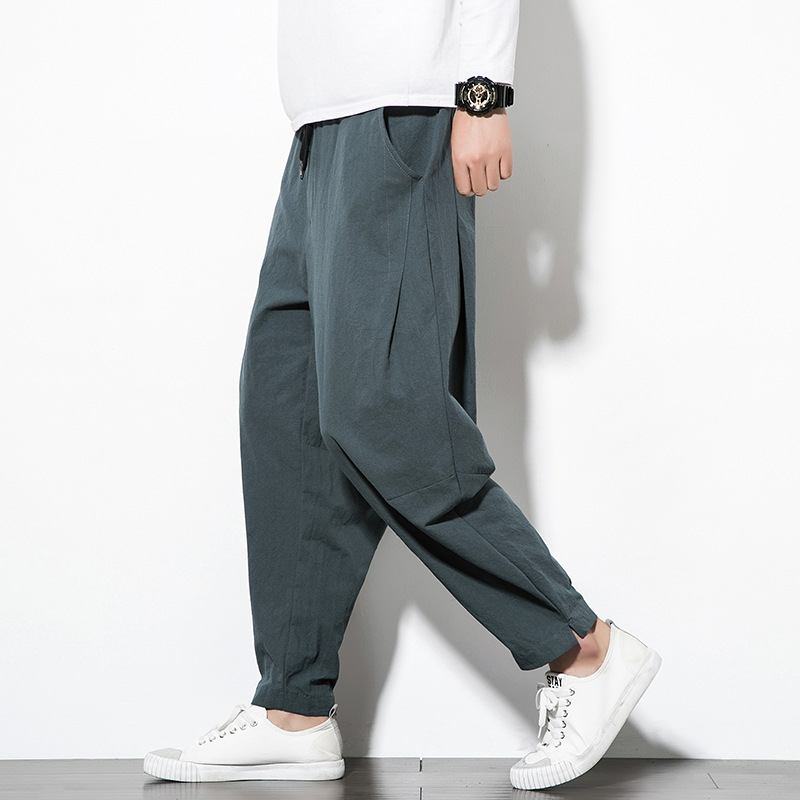 Men Radish Pants Summer New Style 2019 Casual Pants Men's Loose-Fit Harem Pants Plus-sized Chinese-style Loose Pants