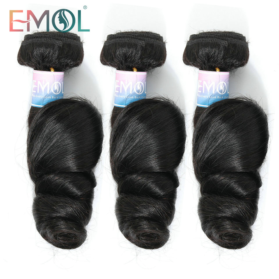 Emol Brazilian Loose Wave Bundles Hair Weave Extensions 100% Human Hair Bundles Non-Remy Hair 1/3/4pcs