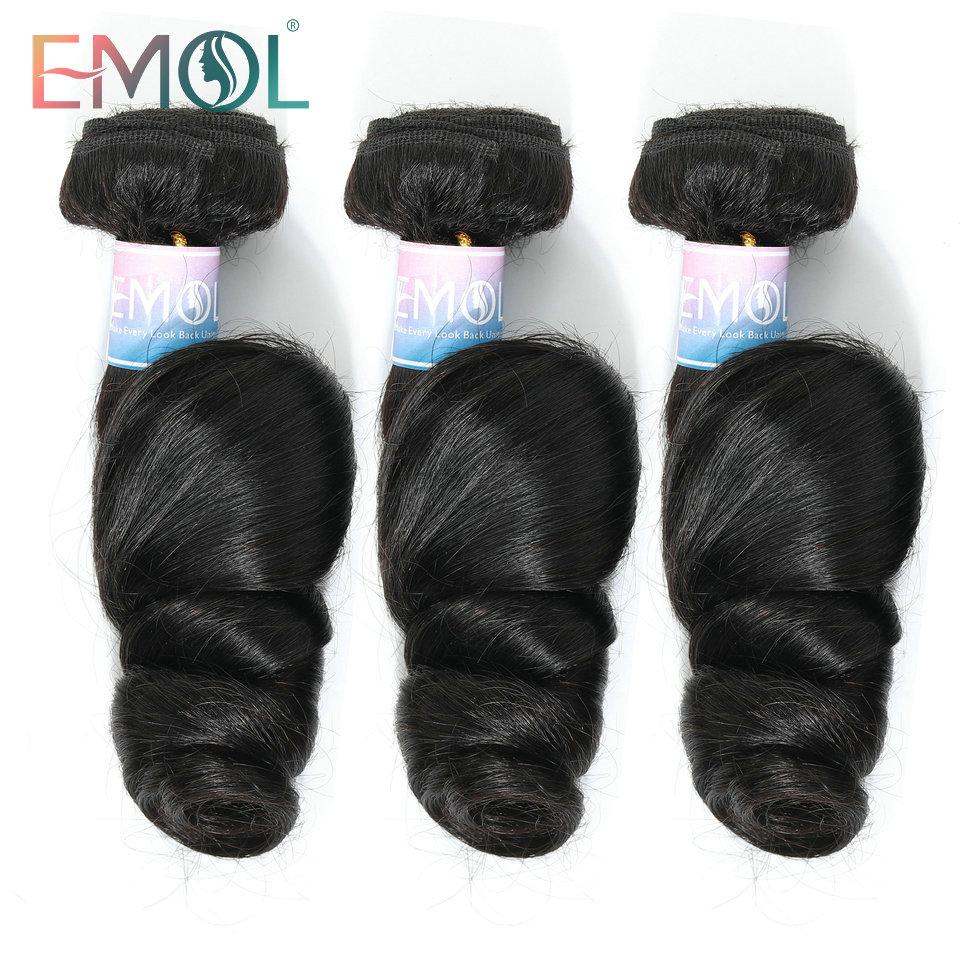 Emol Brazilian Loose Wave Bundles Hair Weave Extensions 100% Human Hair Bundles Non-Remy Hair 1/3/4pcs