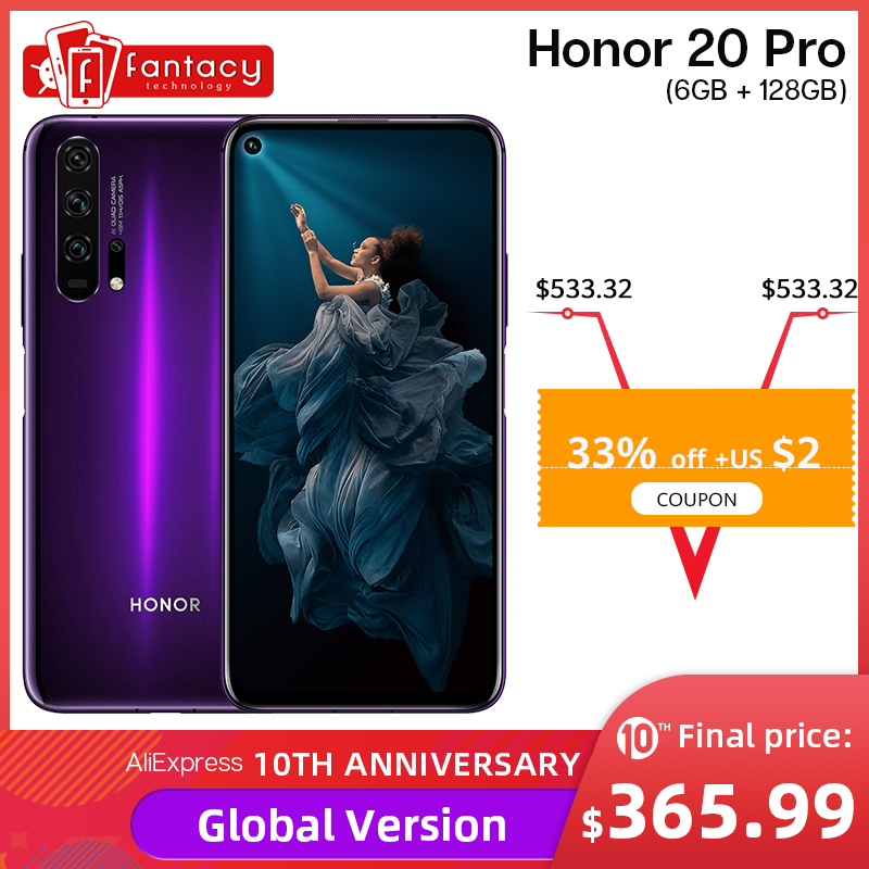 Global Version Honor 20 Pro Smartphone 8G 256G Kirin 980 Octa Core 48MP Four Cameras Mobile Phone 6.26'' 4000mAh Google Play NFC