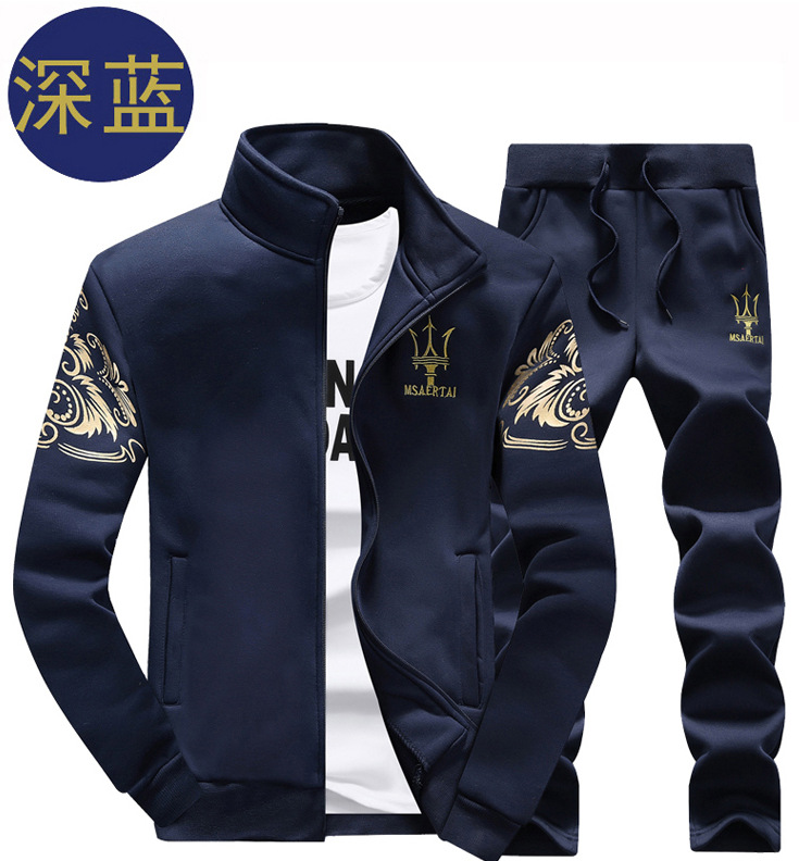 Autumn And Winter New Style Men Sports Plus Velvet Suit Casual Long Sleeve Baseball Uniform Outwear Middle School Students Main