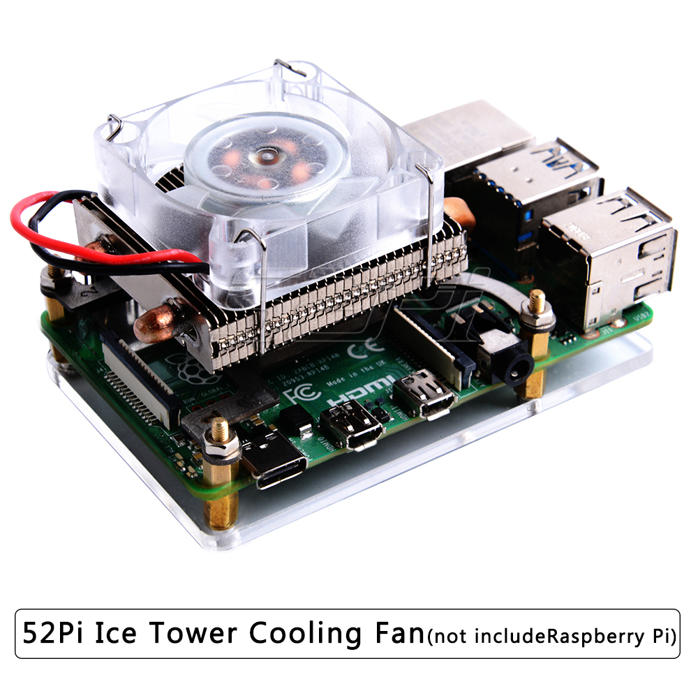 52Pi Super Ice Tower Cooling Fan for Raspberry Pi 4 Model B / 3B+ / 3B 7 Color RGB Light Fan for Raspberry Pi