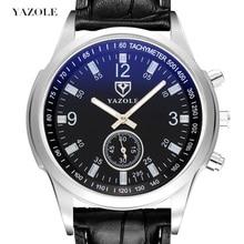 Yazole קוורץ גברים שעון זכר רצועת עור אנלוגי עסקי מזדמן דק זוהר ידיים עמיד למים שעון יד לגברים שעוני יד
