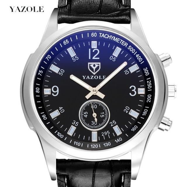 yazole Quartz Men Watch Male Leather Strap Analog Business Casual Thin Luminous Hands Waterproof Wrist Watch for Men Wristwatch