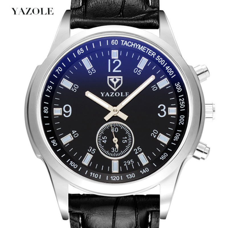 yazole Quartz Men Watch Leather Strap Analog Business Casual 8mm Thin Luminous Hands Waterproof Wrist Watches for Men Wristwatch
