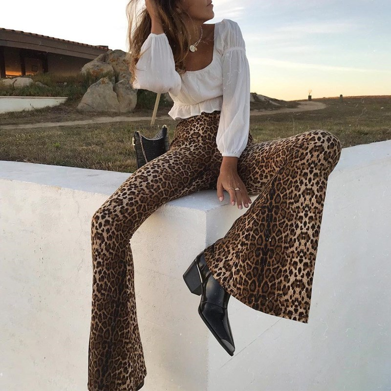 Leopard Pattern Printed Flare Pants Women Elastic Mid Waist Casual Trouser Spring Stretch Long Pants