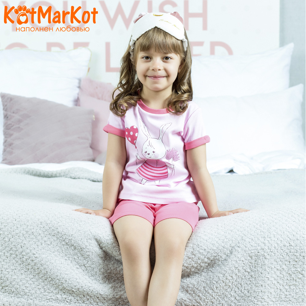 Pajama Sets Kotmarkot 16459 children's pajamas for boys and girls sleep t-shirt and shorts pajama pants Cotton Girls shein kiddie toddler girls letter print jumpsuit and floral print pants and headband long sleeve casual suit for girl sets