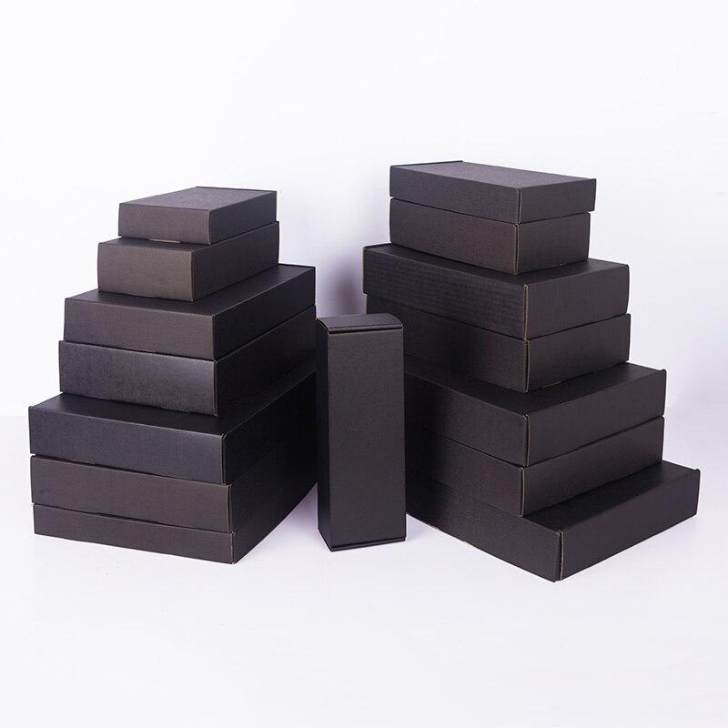 100pcs / Kraft Paper Box 79 Options Size Black Corrugated Box Color Gift Box Blank Box Can Be Customized Size Printing Logo