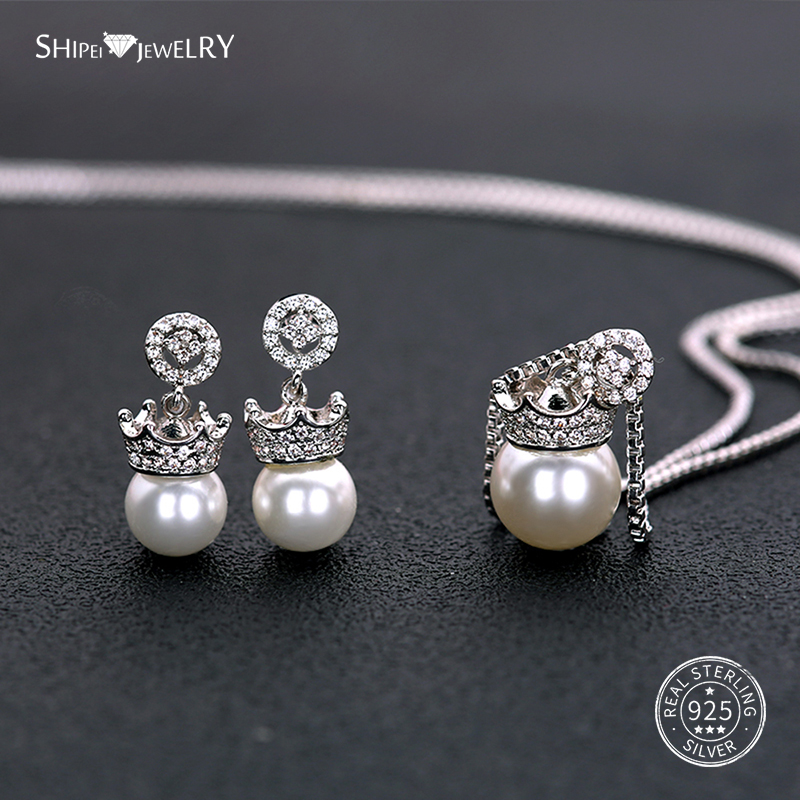 Shipei Crown Pearl Jewelry Set Necklace Earrings for Women 100% 925 Sterling Silver Natural Pearl Jewelry Set