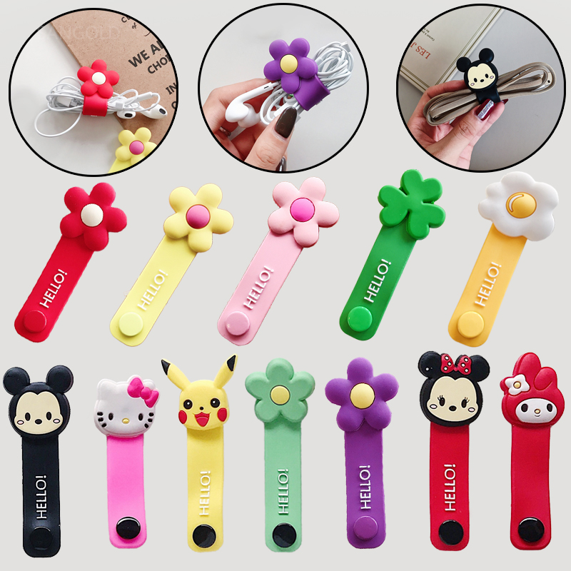 Cute Cartoon Holder Charging Cable Management Charger Winder Wire Organizer For IPhone USB Earphone Cord Protector Silicone Clip