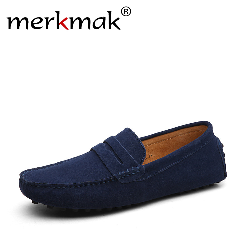 Merkmak Brand Suede Leather Fashion Soft Men Loafers Moccasins High Quality Genuine Leather Men Flats Gommino Driving Shoes