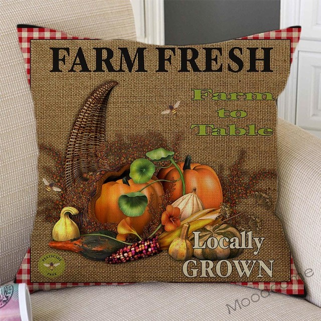 Vintage Farm Life Rooster Cow Vegetable Fruits Farm Fresh Art Home Decor Pillow Cover Relaxed Leisure Rural Life Cushion Covers 5