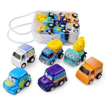 6Pcs Cartoon Pull Back Diecast Car Truck Model Kids Toddlers Toy Party Favors image