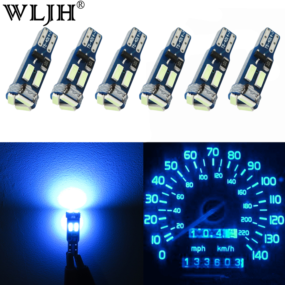 WLJH 6x Canbus High Bright LED T5 17 37 73 74 286 2721 4014 Chip Car Instrument Panel Cluster Gauge Light Bulb Lamp No Polarity