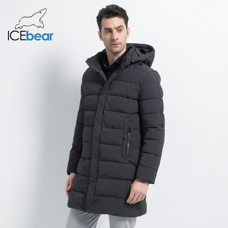 ICEbear 2019 Winter Coat Causal Parkas  Men Hat Detachable Warm Jacket Cotton Padded Winter Jacket Men Clothing MWD18821D