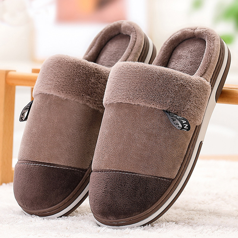 Indoor Slippers Men's Winter Home Shoes 2019 New Arrival Size Max 15/16 Short Plush Warm Slippers Man Home Slippers
