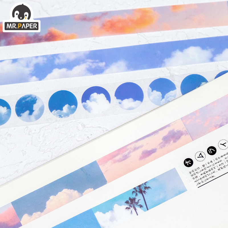 Mr.Paper  6 Designs Lovely Blue Sky Nightfall Creative Bullet Journaling Washi Tapes Scrapbooking DIY Decaration Masking Tapes 2