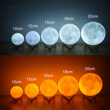 цена Moonlight 3D Printing Night Light Rechargeable 3 Color Faucet Control Light 16 Color Change Remote LED Moon Light Gift онлайн в 2017 году