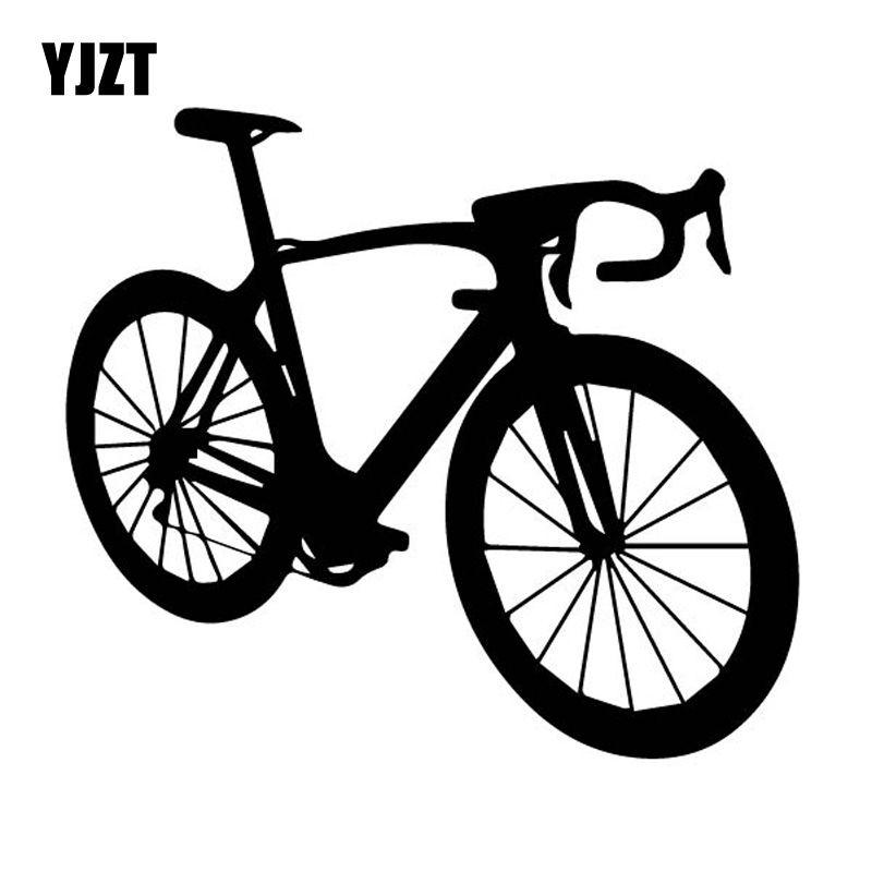 YJZT 15.1CM*13.4CM Interesting Sport Riding Bike Delicate Bicycle Vinly Decal Nice Decor Car Sticker Black/Silver C27-0857