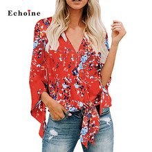 Echoine Women Sexy V Neck Flare Sleeve Floral Print Blouses Fashion Lady Shirt Lightweight Comfy Loose fit Casual Woman Clothes