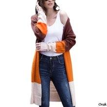 Oeak Womens autumn coat long-sleeved patchwork needle multi-color striped cardigan womens long 2019