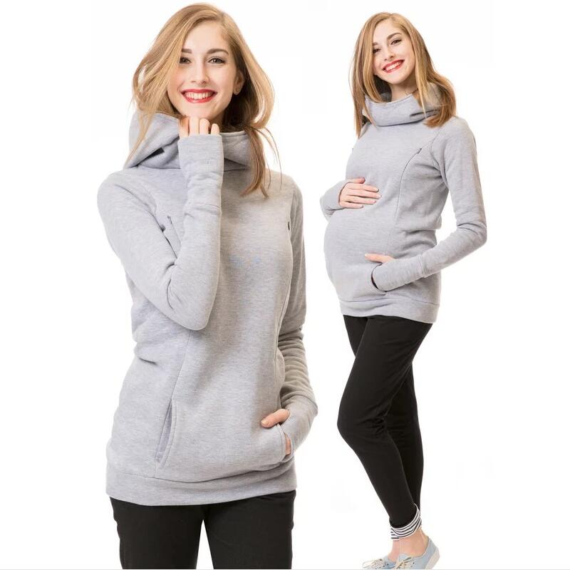 Winter Warm Shirts Women Breastfeeding Sweatshirt Maternity Clothing Tops Nursing Hooded Lactation Clothes For Pregnant Mothers