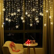 3 5M boże narodzenie kurtyna dekoracyjna płatek śniegu sople LED łańcuchy świetlne migające światła kurtyna świetlna domu impreza plenerowa światła tanie tanio SAFEBET CN (pochodzenie) Inne Glow Rekwizyty 1 pc Pentagram decorative lantern Ślub i Zaręczyny Birthday party Dzień dziecka