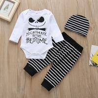 Spring3pcs Autumn Baby Suits 6M 24M Boy Girl Clothes Fashion Baby Letter Printing Bodysuit Striped Trousers With Hat Kid Outfit