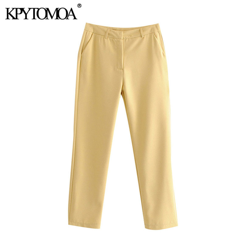 KPYTOMAO Women 2020 Chic Fashion Office Wear Basic Pants Vintage Zipper Fly Side Pockets Female Ankle Trousers Pantalones Mujer