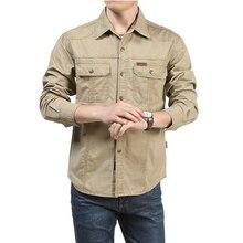 Camisa táctica hombres ropa 2019 primavera otoño militar vestido camisa hombre algodón manga larga ejército Casual talla grande 4XL 5XL 6XL