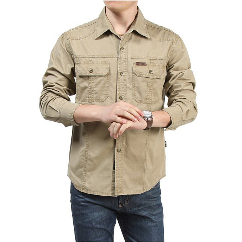 Tactical Shirt Men Clothes 2019 Spring Autumn Military Dress Shirt Mens Cotton Long Sleeve Army Casual Plus Size 4XL 5XL 6XL