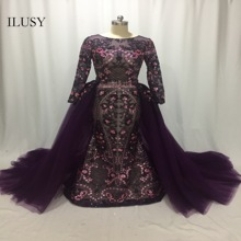 ILUSY Elegant Removable Overskirt Purple Sequins Evening Dress Lace Party Gown Puffy Prom Dress Arabic