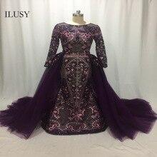 ILUSY élégante jupe de soirée amovible paillettes violet robe de soirée en dentelle robe de soirée bouffante robe de bal arabe