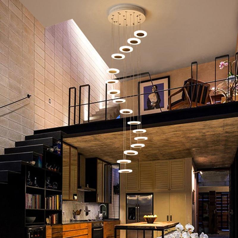 LED staircase chandelier minimalist duplex floor hall fashion Long Chandelier Modern Style led salon lighting modern chandeliers