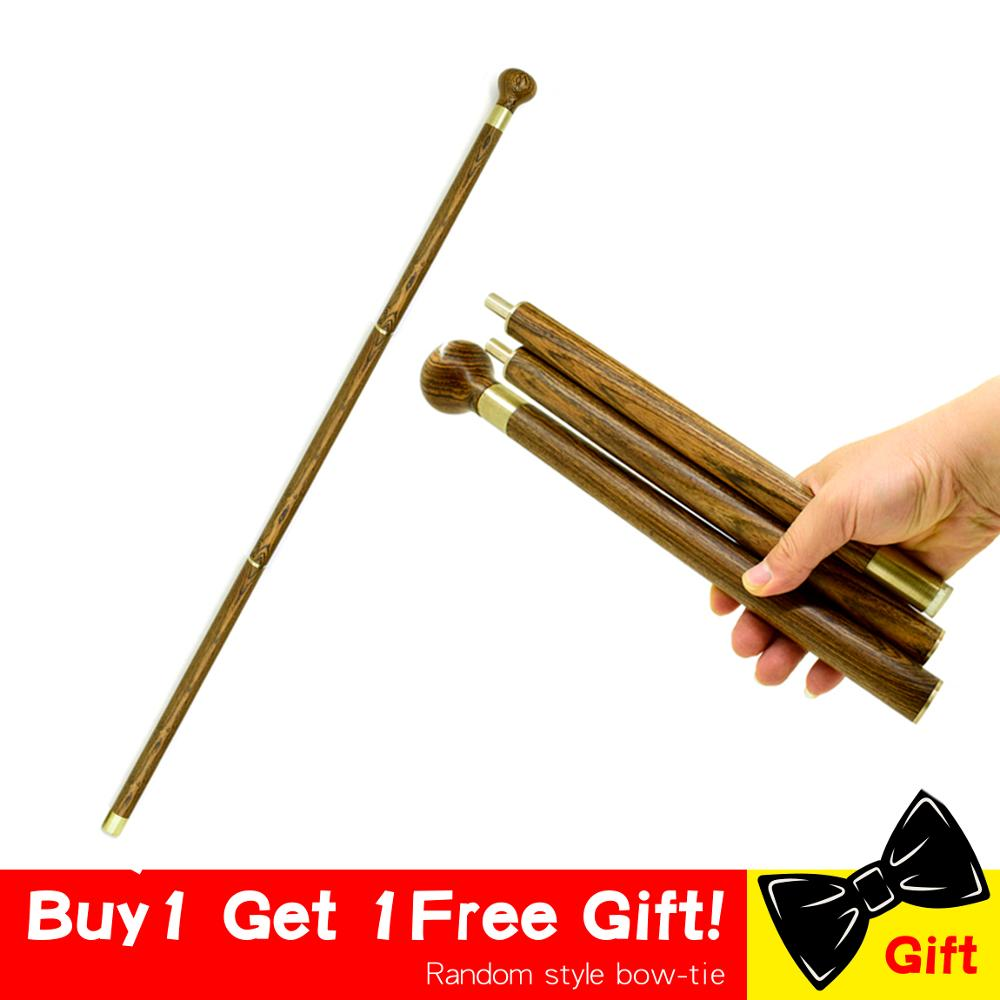 Wooden Walking Cane Stick Foldable Vintage Wood Round Head Canes 3-Sections Gentle Travel Walking Gentleman Stick Portable