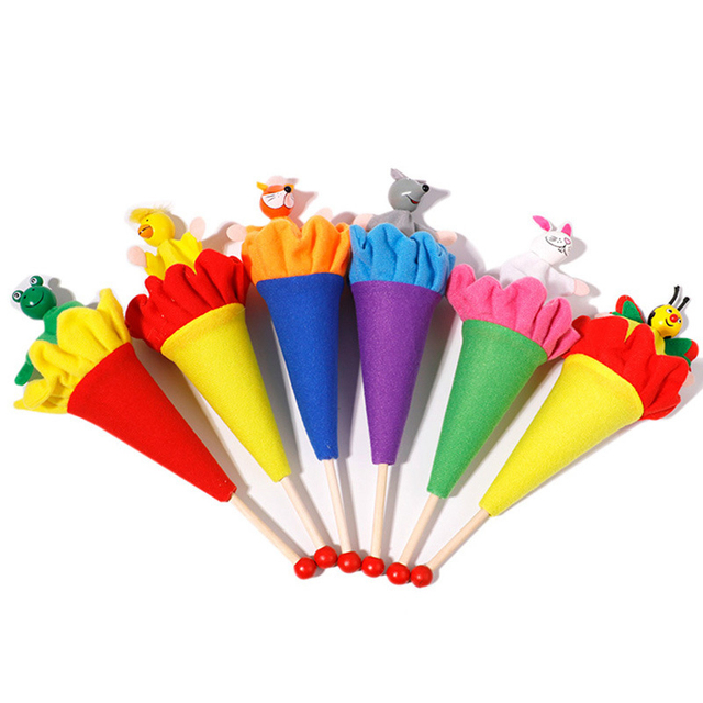 6Pcs/Set Retractable Smiling Clown Toy Doll Funny Telescopic Hide-and-Seek Plush Doll Toy Cone Toy Children Educational Toy 1