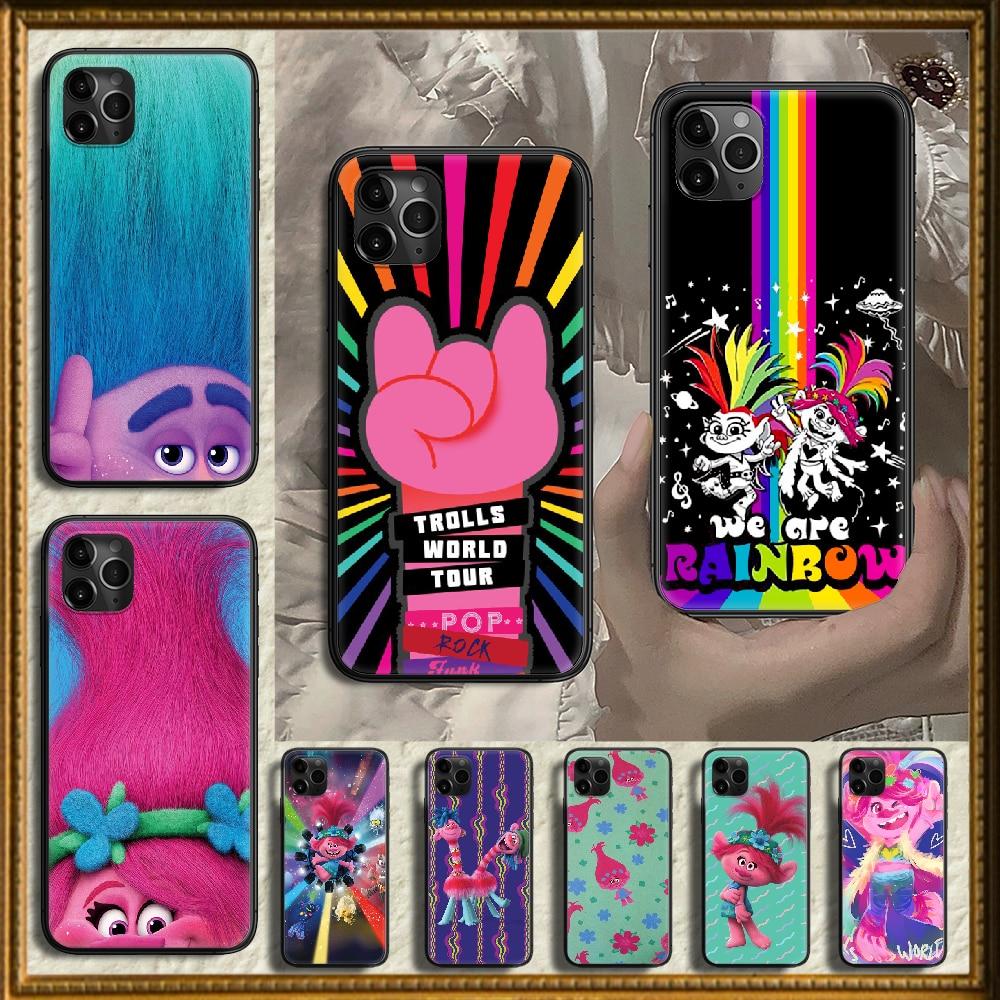 Cartoon Trolls Phone Case Cover Hull For Iphone 5 5S Se 2 6 6S 7 8 12 Mini Plus X XS XR 11 PRO MAX Black 3D Coque Tpu Etui
