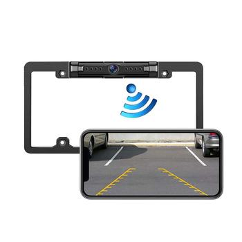 Wireless Reversing Dash Camera with Star Night Vision Waterproof Plastic License Plate Frame Camera For IPhone Android Phones