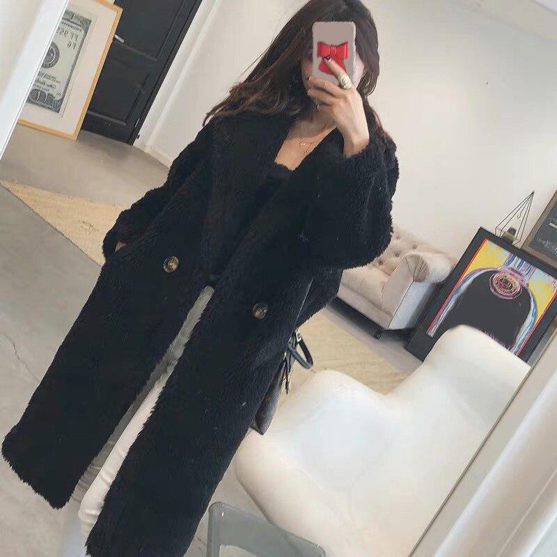 Femmes fourrure ours en peluche manteau en peluche 2019 automne hiver surdimensionné longs manteaux en peluche chaud à manches longues solide mode pardessus femme - 3