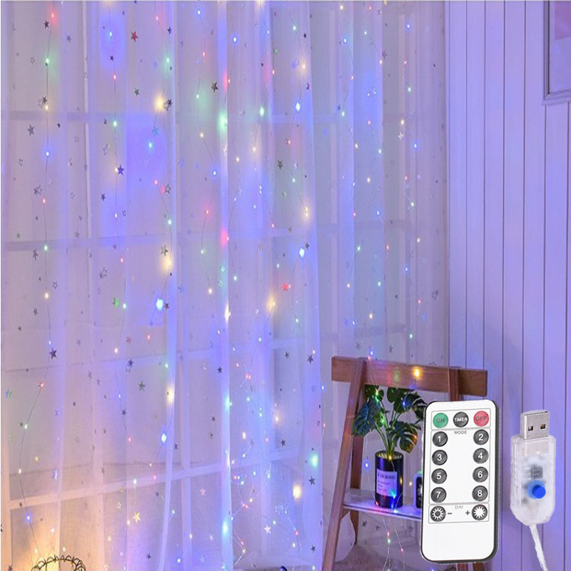 3M LED Curtain Lamp Garland USB String Lights Remote Control Warm White Multicolor Fairy Light Bedroom Home Decorative Lighting