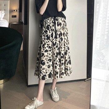 Leopard Skirt Women Fashion Bow French Elegant Vintage Chiffon High Waist Skirts 2020 Autumn Clothing Female Midi Skirts Korean women vintage leopard naomi wild things mermaid high waist silk satin midi skirt