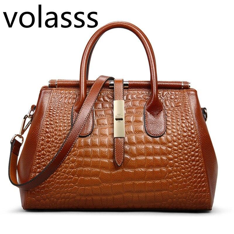 High Quality Fashion Brown Genuine Leather OL Office Luxury Handbags Women Handbag Shoulder Messenger Bags Designer Lady Female