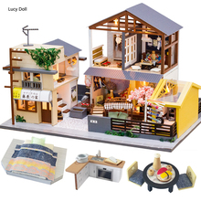 Lucy DIY Dollhouse Wooden Doll House Miniature With Furniture Kit Casa Music Led Light Toys For Children Birthday Gift PC902